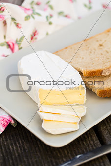 Sliced camembert cheese