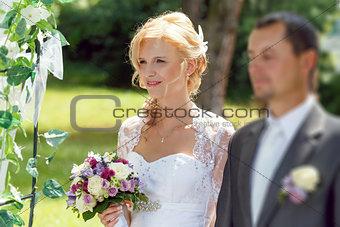 beautiful young wedding couple