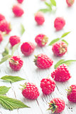 raspberries and leaves