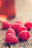 raspberries and juice