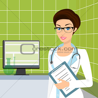 Vector illustration of smiling doctor wearing glasses in the consulting room.