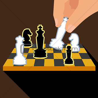 Business strategy with chess figures.