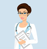 Vector illustration of smiling doctor with a folder in her left hand.