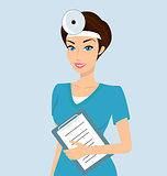 Vector illustration of smiling doctor otolaryngologist with a folder in her left hand.