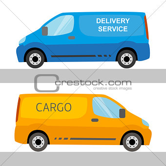 Blue and orange delivery vans isolated on white