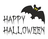 Happy Halloween party vector card with bat.