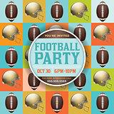 Football Pattern Party Invitation