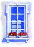 Window with flowers. Watercolor illustration
