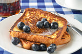 French toast and blueberries closeup