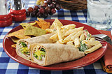 Chicken wrap sandwiches with pasta salad