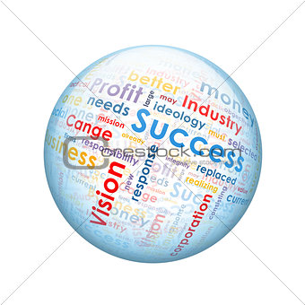 Business words. Spherical glossy button