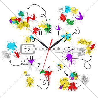Clock face with colored business sketches