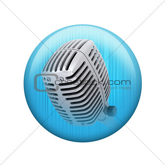 Old microphone. Spherical glossy button