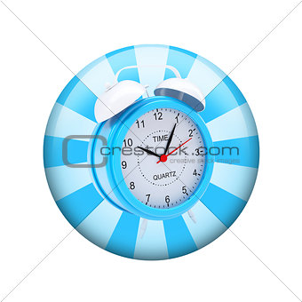 Alarm clock. Spherical glossy button