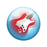 Electric guitar. Spherical glossy button