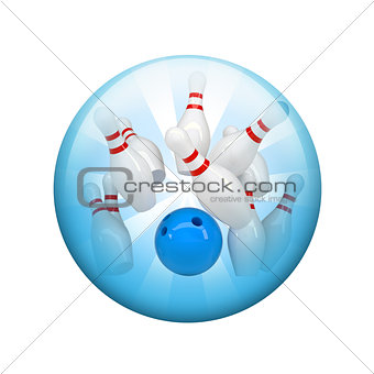 Bowling ball and skittles. Spherical glossy button