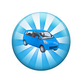 Blue car. Spherical glossy button
