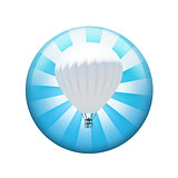 Hot air balloon. Spherical glossy button
