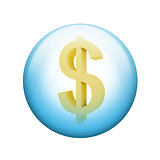 Dollar symbol. Spherical glossy button