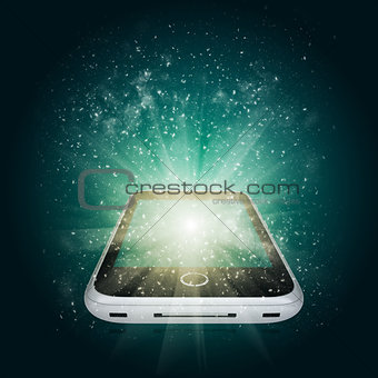 Smart phone with magic light and falling stars