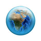 Earth. Spherical glossy button. Web element