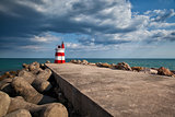 Lighthouse on the Tavira Island before storm, Algarve,Portugal
