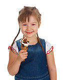 caucasian girl eating ice-cream