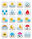 Cute sun, rainbow, moon, rain and cloud - Kawaii, Manga buttons