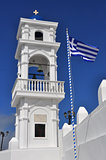 greek orthodox church and flag