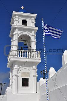greek orthodox church and flag