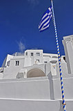 classical greek architecture and flag