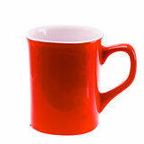 Red Coffee Cup Mug Isolated On White Background