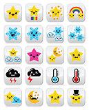 Cute weather kawaii buttons, star, rainbow, moon, snowflake, thunder and cloud