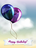 Happy birthday ballons greeting card blue and violet
