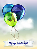 Happy birthday ballons greeting card blue and green