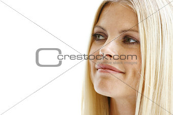 Blond beautiful woman face l