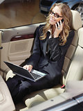 busy businesswoman with laptop l