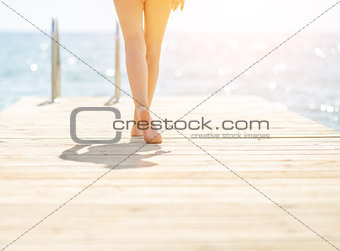 Closeup on young woman on bridge