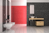 modern bathroom with black, red and white tiles