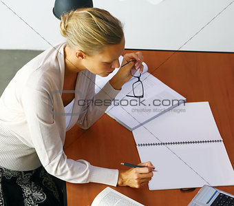 blonde businesswoman in office