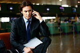 businessman in the airport mobile l