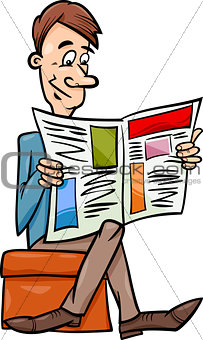 man with newspaper cartoon illustration