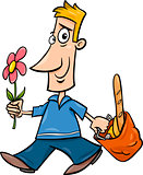 man with flower cartoon illustration