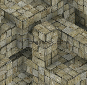 abstract grunge mosaic tile cube backdrop in gray beige