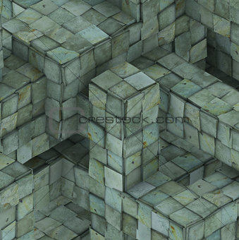 3d abstract grunge mosaic tile cube backdrop in blue green