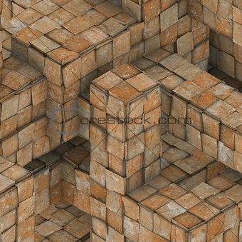 3d abstract grunge mosaic tile cube backdrop in orange rust