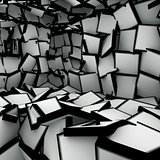 3d abstract shape interior fragmented in black and white
