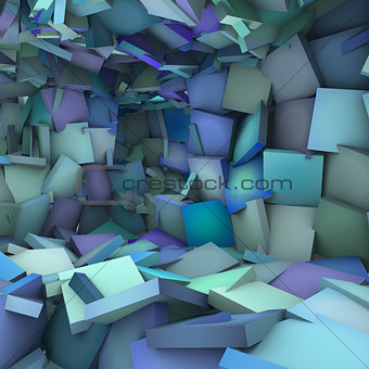 blue 3d abstract shape interior fragmented