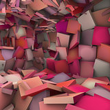 pink 3d abstract shape interior fragmented