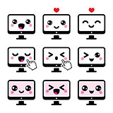 Japanese cute Kawaii character - computer icons set